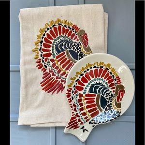 Crate & Barrel Towel + Spoon Rest Turkey